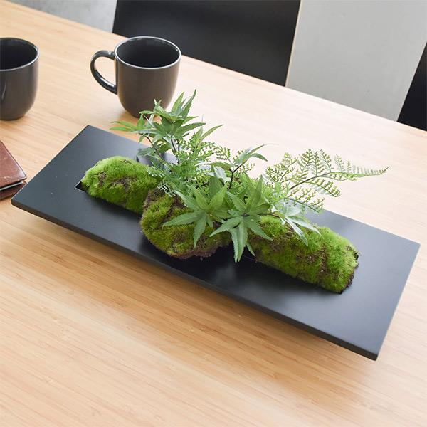 盆栽 モミジ シノブ フェイクグリーン 壁掛け 人工 観葉植物 造花 スタンド付 CUPBON PRGR-1201 ウォールデコ フレーム 黒 ブラック モダン アレンジメント
