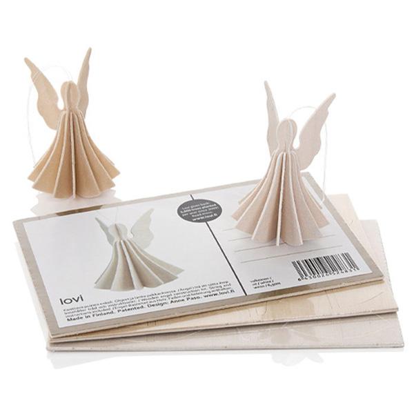 ロヴィ エンジェル 6.5cm メール便 対応 全2種 ナチュラルウッド ホワイト Lovi 木製 カード 北欧 オーナメント 天使 おしゃれ カード