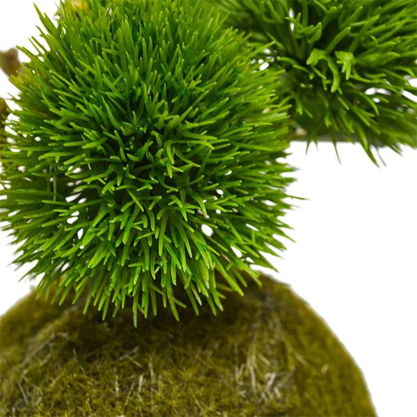 盆栽 桜の葉 トクサ マリモ 苔玉 セットフェイクグリーン 人工 観葉植物 造花 CUPBON 黒岩皿 寄せ植え PRGR-1079 和室 モダン ディスプレイ アレンジメント