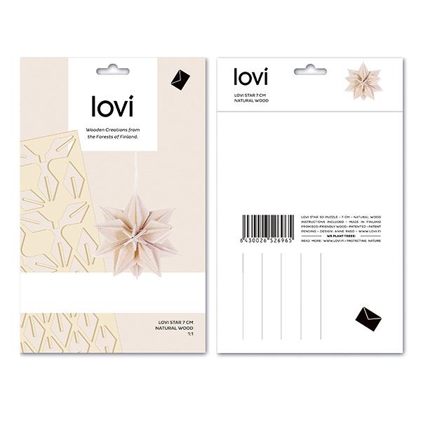 Lovi スター 7cm ロヴィ メール便対応 星 オーナメント 木製 グリーティング カード 北欧 おしゃれ ウッド レッド ブルー 飾り インテリア