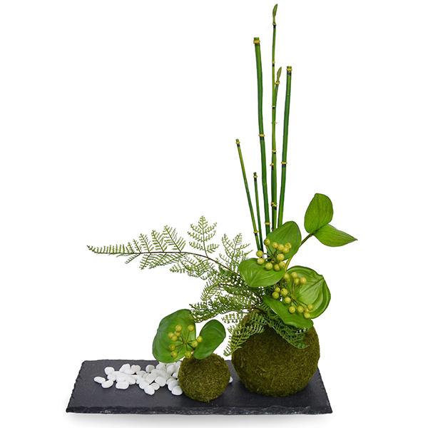 盆栽 サンキライ トクサ 苔玉 セットフェイクグリーン 人工 観葉植物 造花 CUPBON 黒岩皿 寄せ植え PRGR-1077 和室 モダン ディスプレイ アレンジメント 白玉石