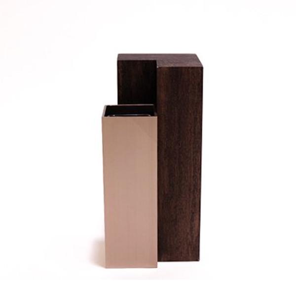 MUKU 柱 くるみ M アルアート ALART | 花瓶 おしゃれ 一輪挿し フラワーベース 花器 インテリア 日本製 四角 アルミ シンプル 木製