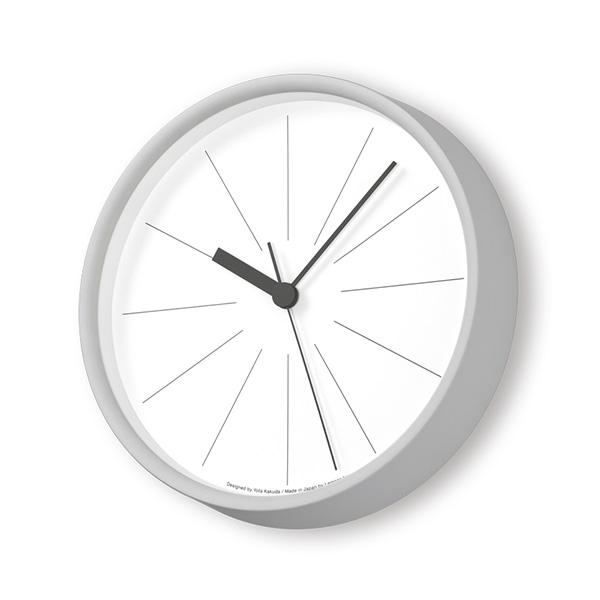 レムノス 掛け時計 時計 電波時計 Lemnos ラインの時計 送料無料 おしゃれ シンプル YK18-09 ホワイト グレー プレゼント ギフト 置き時計 静か 角田陽太