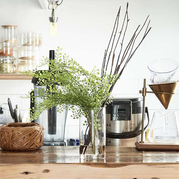 アジアンタム 人工 観葉植物 フェイク グリーン おしゃれ GREENPARK グリーンパーク 造花 ウォーターシリンダー インテリア PRGR-1135 ガラス 枝 ナチュラル