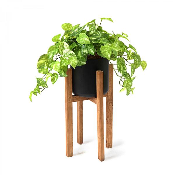 フェイクグリーン ポトス ウッドスタンドポット 卓上 造花 人口 観葉植物 フロアグリーン H68cm グリーンパーク GREENPARK PRGR-1296 木製 人気 シンプル 植物