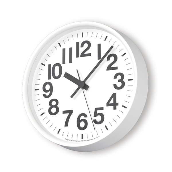 レムノス 掛け時計 時計 電波時計 Lemnos ナンバーの時計 送料無料 おしゃれ シンプル YK18-10 ホワイト グレー プレゼント ギフト 置き時計 静か 角田陽太 お祝