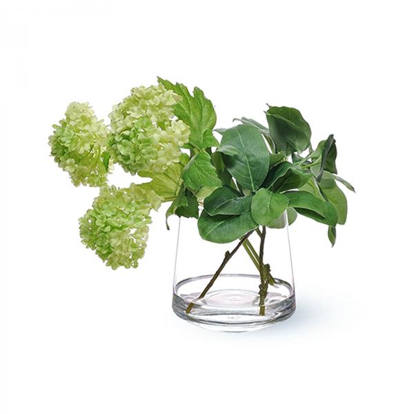 スノーボール ウォータートラぺゾイド 人工 観葉植物 フェイク グリーン おしゃれ GREENPARK グリーンパーク 造花 PRGR-0957 ガラスベース テーブルグリーン