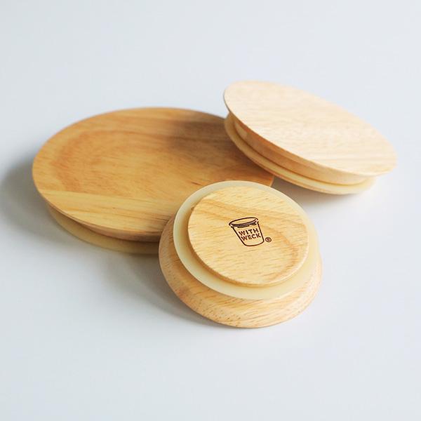WITH WECK フラット トップ 木のフタ L シリコン パッキン付 メール便対応 FLAT TOP WOODEN LID ウェック WW-023L 蓋 木製 ウッド キャップ