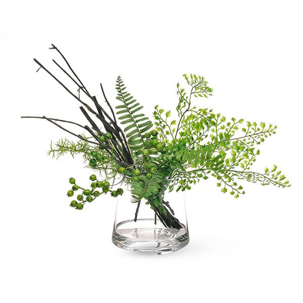 アジアンタム ベリー ウォータートラぺゾイド 人工 観葉植物 フェイク グリーン おしゃれ GREENPARK グリーンパーク PRGR-1175 ガラスベース テーブルグリーン