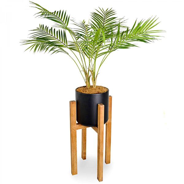 フェイクグリーン パームリーフ ウッドスタンドポット 卓上 造花 人口 観葉植物 フロアグリーン グリーンパーク GREENPARK H100cm PRGR-1142 木製 人気 シンプル