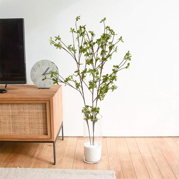 フェイクグリーン ドウダンツツジ ガラスシリンダー 卓上 造花 人口 観葉植物 フロアグリーン グリーンパーク 植物 葉 ギフト 枝 H100cm GREENPARK PRGR-0763