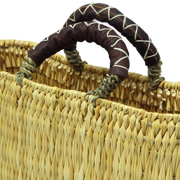 ストロー 横長 カゴ 革ハンドル S 水草 かごバッグ バスケット おしゃれ 持ち手 収納 シンプル エコバッグ 麦わら クロスステッチ こげ茶 アフリカンスクエアー