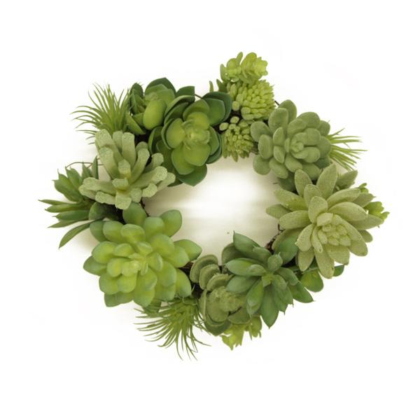多肉植物 サキュレント リース ミニ 20cm フェイク グリーン 造花 植物 ナチュラル 玄関 インテリア リビング シンプル 北欧 枯れない 可愛い おしゃれ