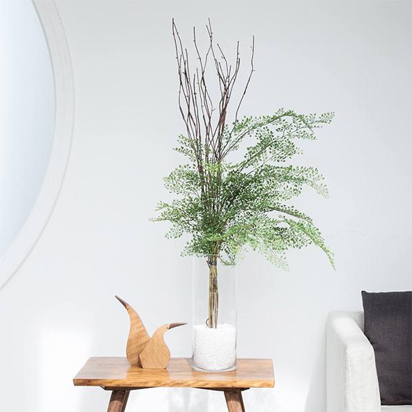 フェイクグリーン アジアンタム ウィロー ガラスシリンダー 卓上 造花 人口 観葉植物 フロアグリーン グリーンパーク GREENPARK H105cm PRGR-1032 枝 葉 人気