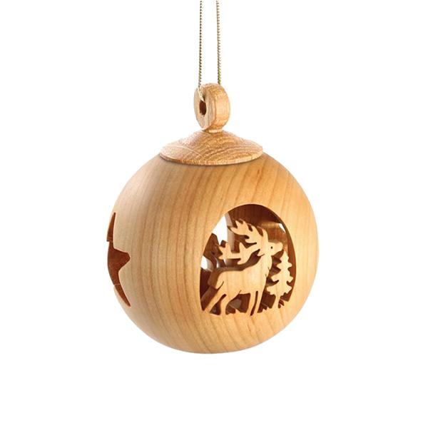 オーナメント 北欧 おしゃれ 木製 ボール 装飾 飾り 全3種 聖誕 トナカイ ヘラジカ ヴァルトファブリック WF9970 インテリア クリスマス ドイツ製 ナチュラル