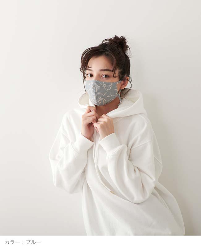 ネックストラップマスク 【flower print】
