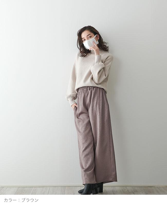 ベーシックワイドパンツ【艶クレープ ペイズリー】