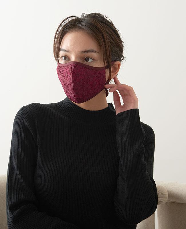 ネックストラップマスク サテン x レース