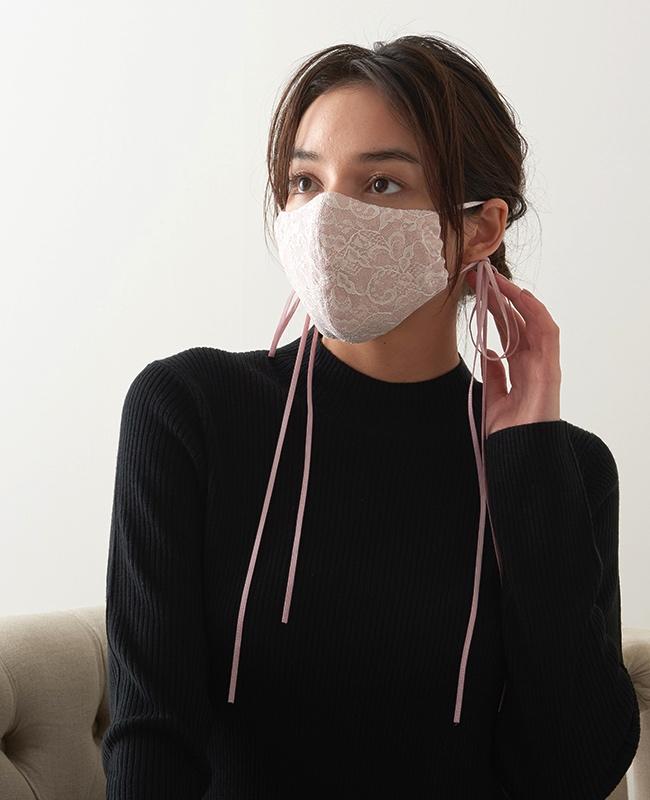 メイクアップマスク ラメ x レース