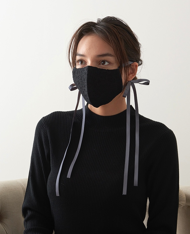 メイクアップマスク レース x サテンリボン