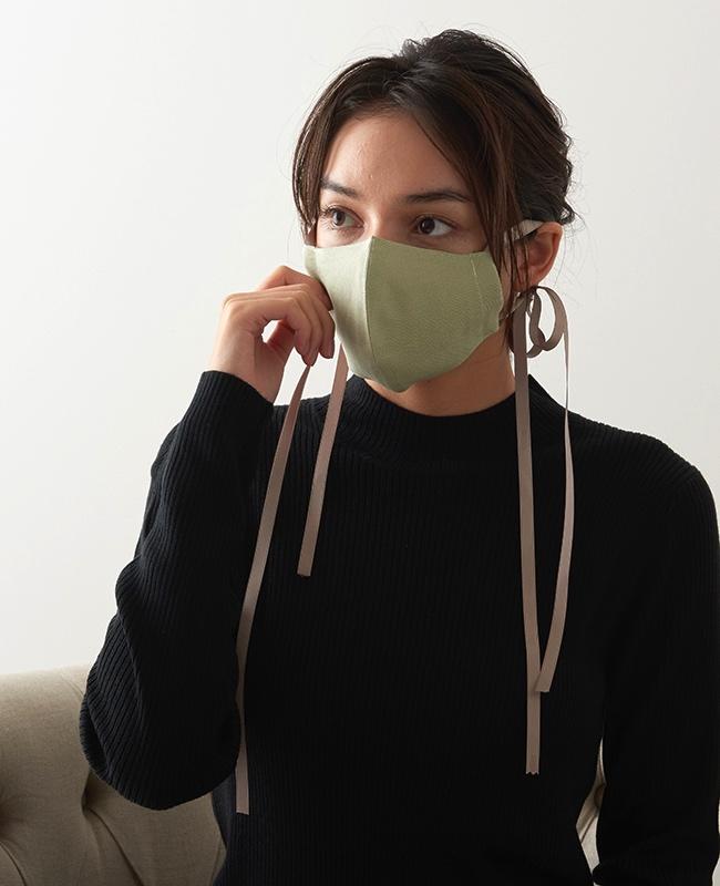 メイクアップマスク リネン x サテンリボン