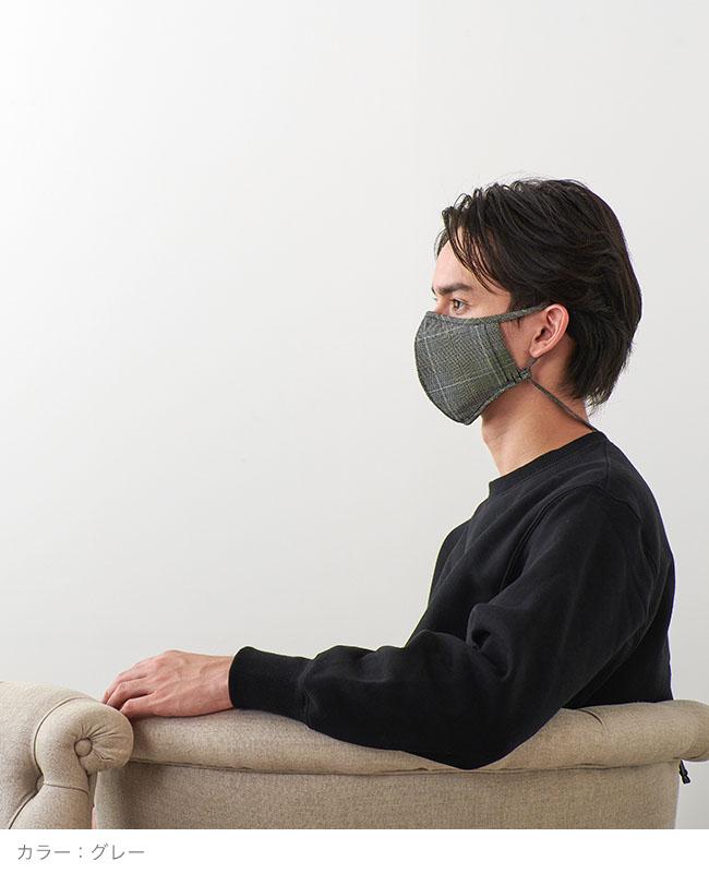 ネックストラップマスク 【glencheck】