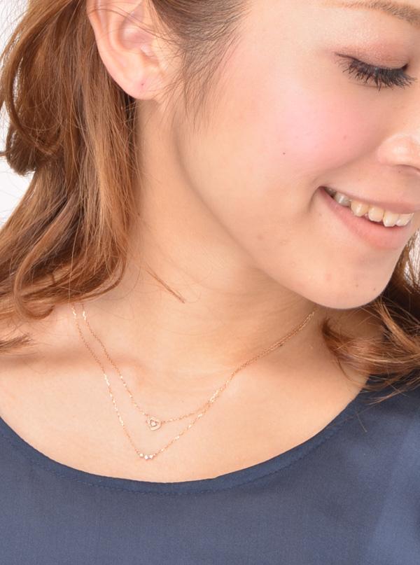 【送料無料】K10オープンハートダイヤモンド2連ネックレス 【リュクス】【ネコポス不可】 LC-06