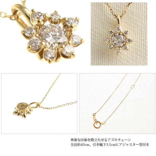【送料無料】K10ダイヤモンドフラワーネックレス 0.15ct 【リュクス】LC-18【ネコポス不可】
