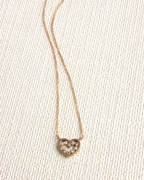 【送料無料】K10 オープンハートダイヤモンドネックレス 【リュクス】【ネコポス不可】LC-28【楽ギフ包装選択】