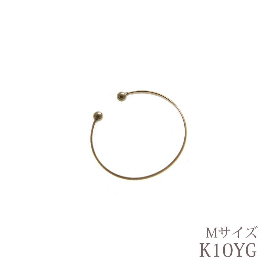 【片耳販売】K10 YG シンプルフープイヤーカフ(M) LE-12【ネコポス不可】【リュクス】