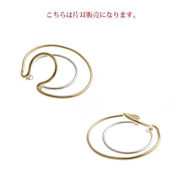 【片耳用】コンビカラー3連風ビッグリングイヤーカフ E2107