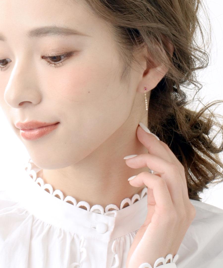 【送料無料】K10 ダイヤモンド×ルビーバーピアス LP-130【リュクス】