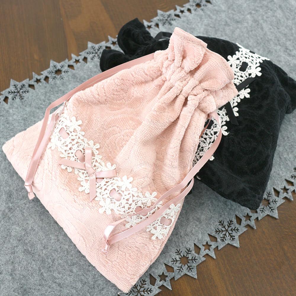 バラとリボンレースのローズ巾着 レディース 2色展開 リボン レース フェミニン かわいい