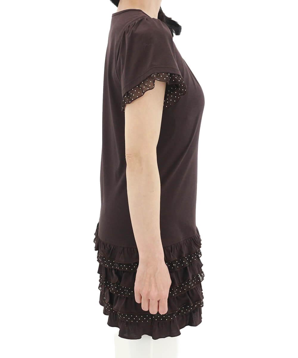 ラフィーリア ケイコレクションオリジナルブランド 袖口や裾のチュール素材のドットがかわいいチュニック レディース 新作 2021年春夏 送料無料 la figlia
