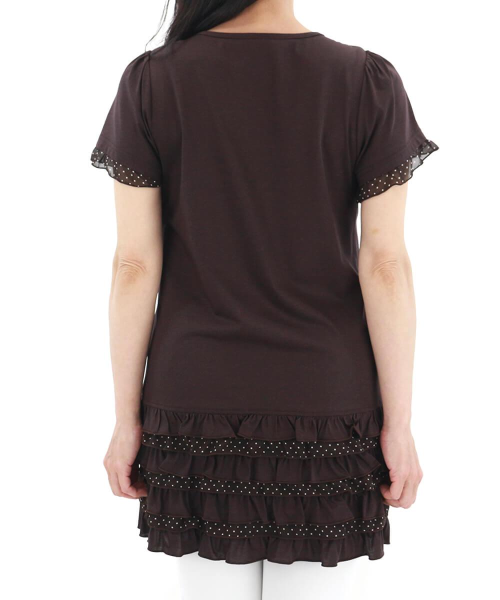 【アウトレット】 【50%OFF】+【ポイント20倍】ラフィーリア  袖口や裾のチュール素材のドットがかわいいチュニック レディース バーゲン la figlia
