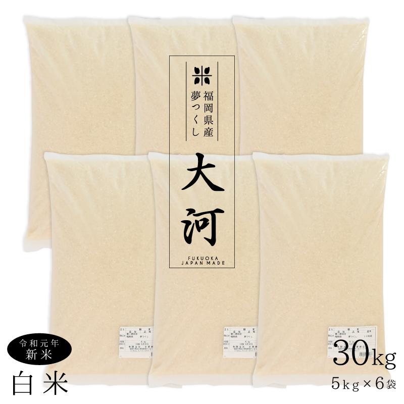 新米 30kg 特A 夢つくし 精米 5kgx6 紙袋 ギフト お祝い 令和元年 白米 福岡産 日本産 柔らかい しっとり