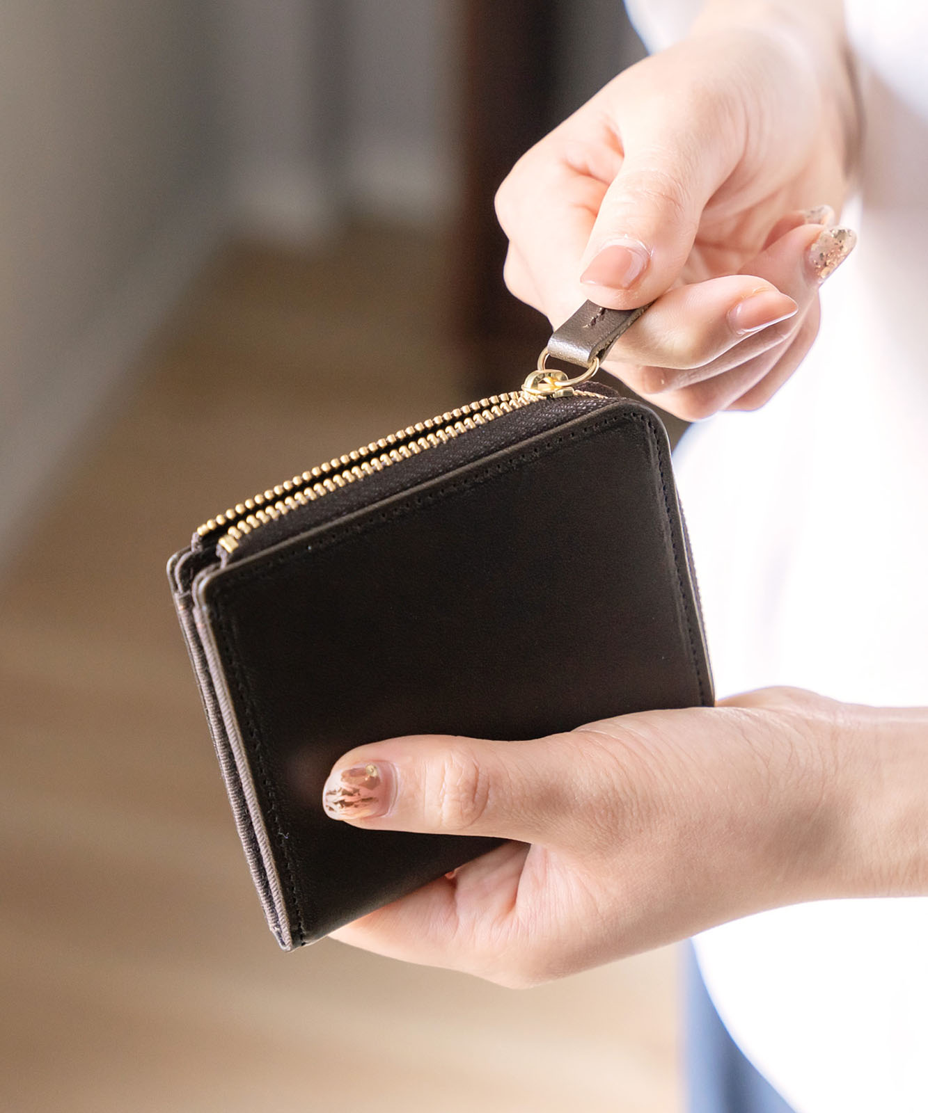 《訳あり》イタリアンレザーL字ファスナーミニ財布