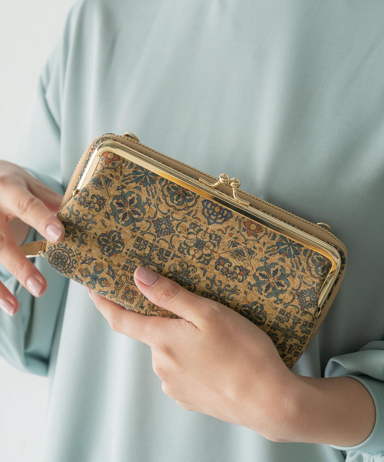 がま口付きコルクお財布ポシェット