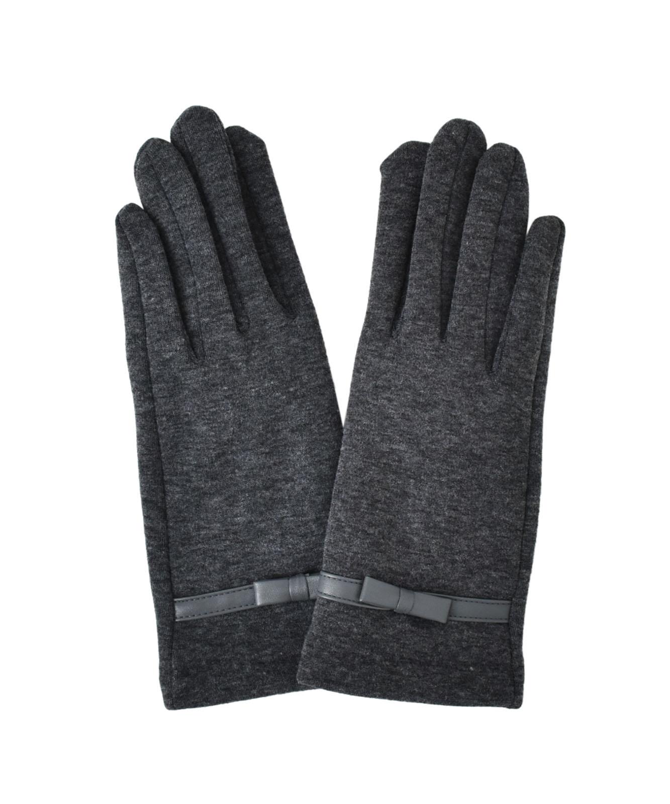 PUリボン付きスマホ対応手袋(抗菌加工)