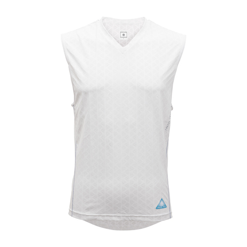 ノースリーブ Vネックシャツ/WHT(S〜2XL)
