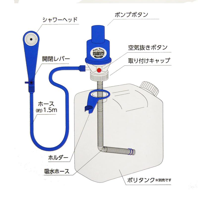 ポンプ式簡易シャワー