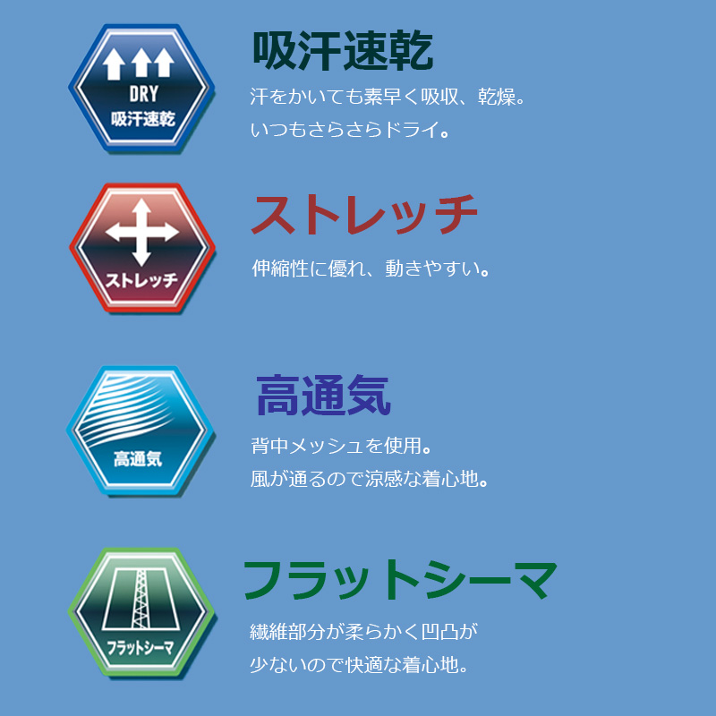 ■LX108バックメッシュパワーサポート長袖ブルー