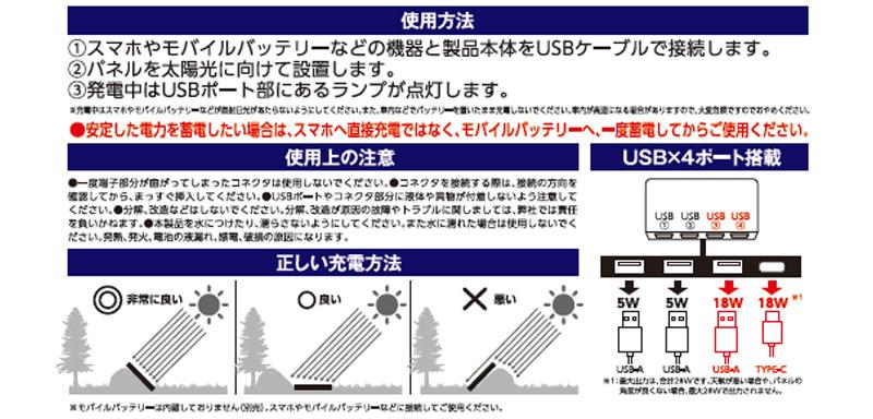 ●4ポート急速充電対応ソーラーパネル