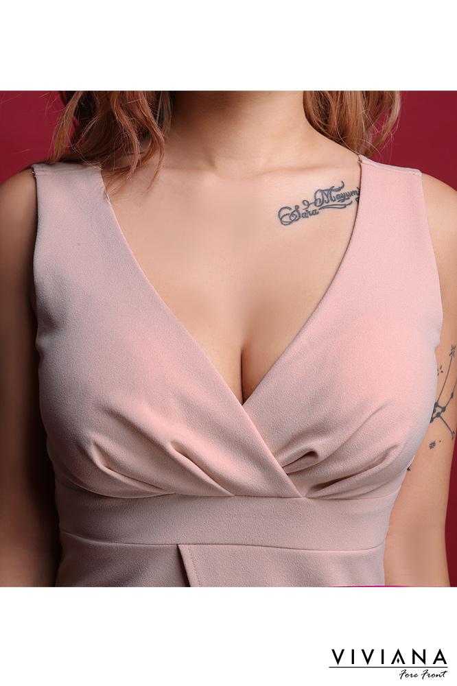 ロールデザイン切り替えタイトミニドレス