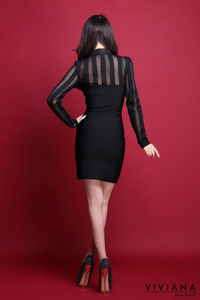 シースルーストライプブラウスコンビネーションバンテージドレス