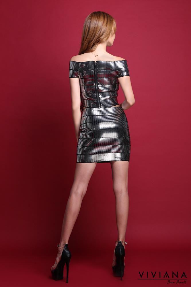 ミラー素材ライトバンテージセパレートタイプドレス