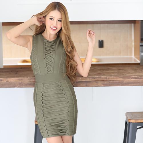 編み上げデザインバンテージドレス