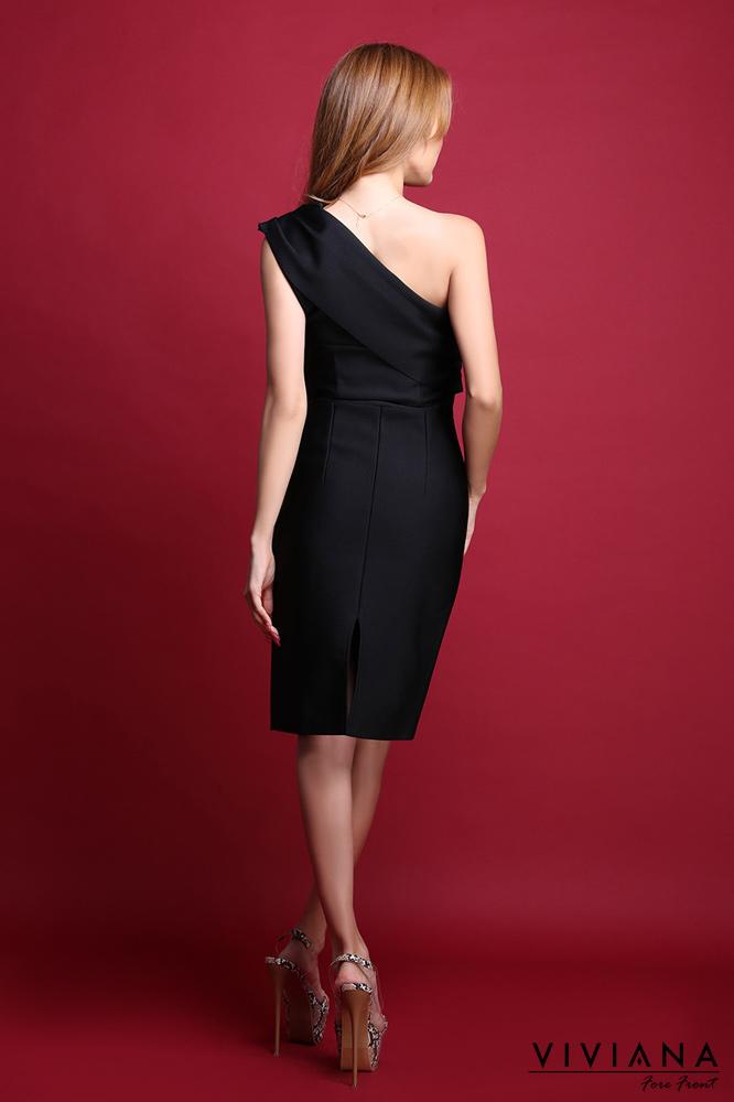 ワンショルダーギャザーバンテージドレス