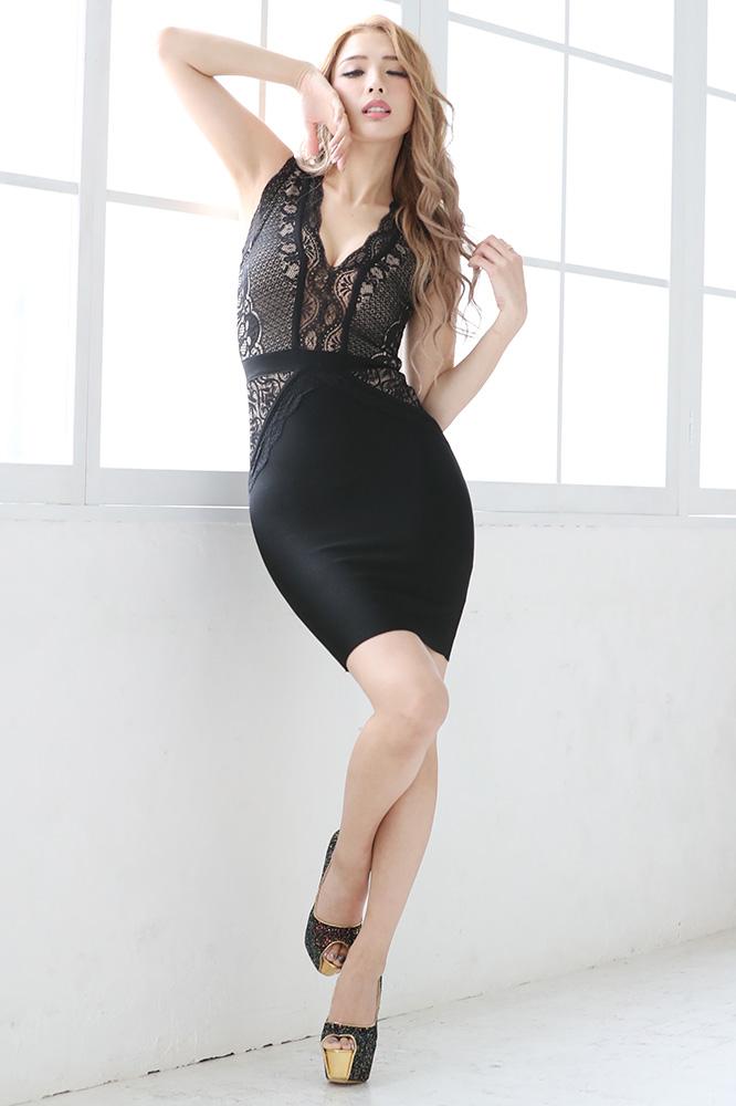 シースルーレースアレンジミニバンテージドレス