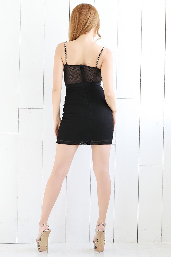 チェーンストラップミニバンテージドレス